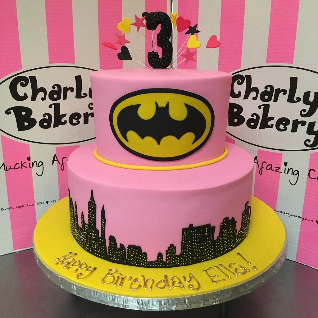 2 Tier Batman Batgirl Themed Cake Covered In Pink Fondan Flickr