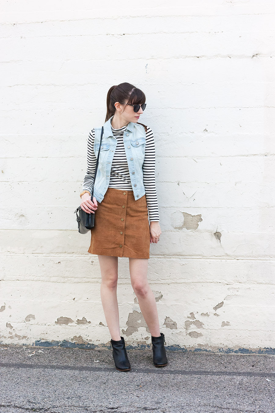 Button Front Suede Skirt Outfit