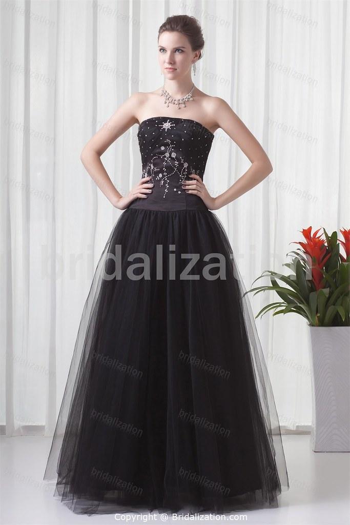 Black Military Ball Floor-Length Satin Strapless Prom Gown… | Flickr