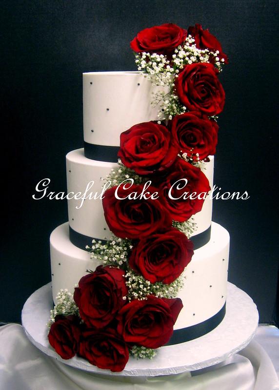 Elegant White Butter Cream Wedding Cake with Black Ribbon … | Flickr