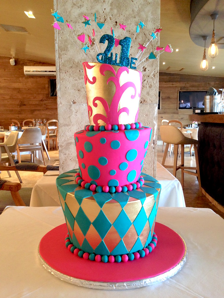3 Tier Mad Hatter Style 21st Birthday Cake In Gold Teal A Flickr