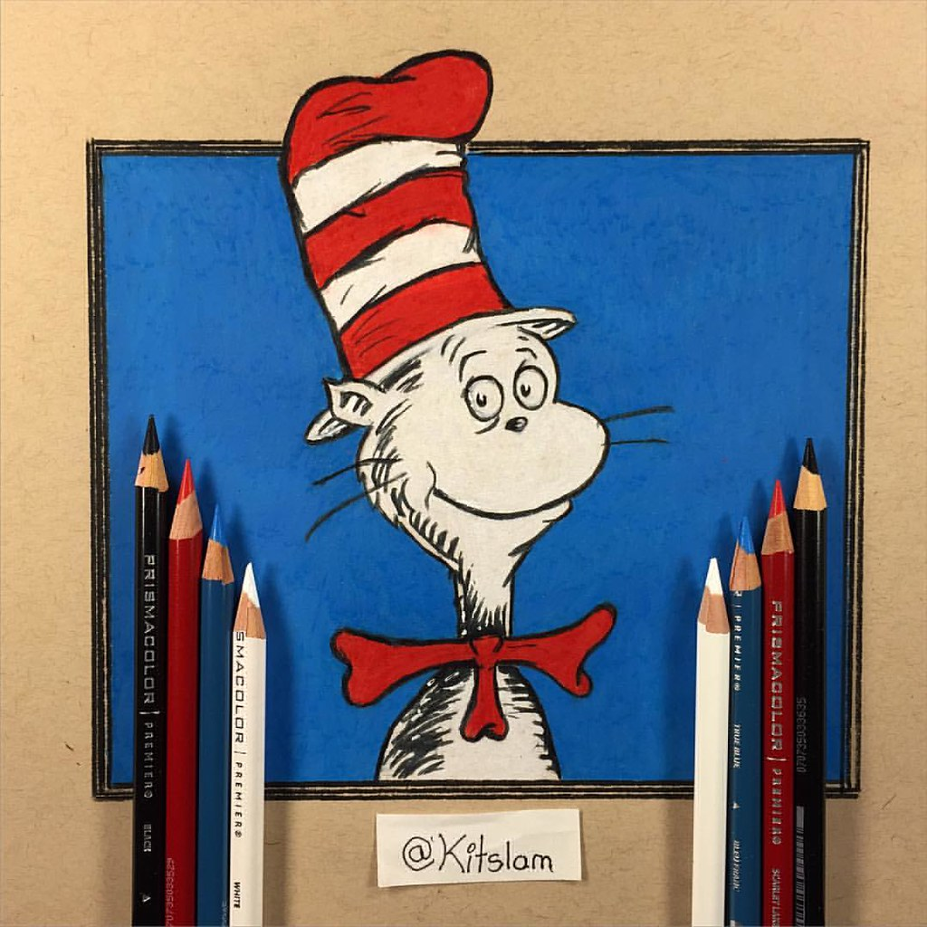 the cat in the hat drawing dr seuss two hand drawing flickr