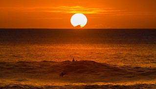 Sunset Surfer Waimea Bay Oahu Hawaii | by Anthony Quintano