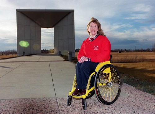 Jean Driscoll by the Olympic Memorial in Dodds Park, Champaign, 2002 | by The Urbana Free Library Digital Collections