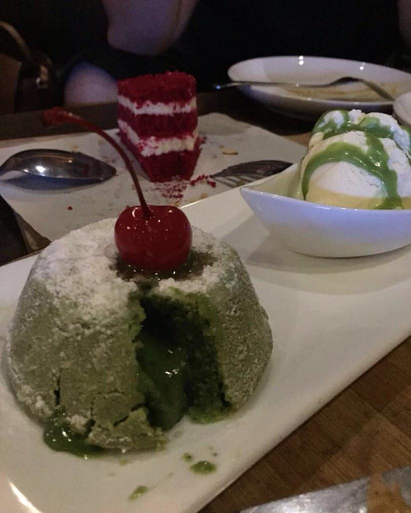 tonight dessert green tea lava cake served w vanilla i flickr