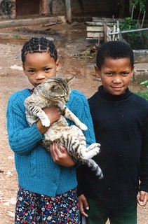 Kids with cat, South Africa | by Animal People Forum