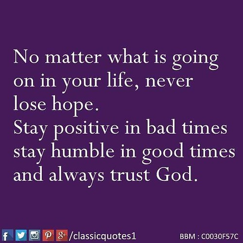 Stay Positive No Matter What Quotes: No Matter What Is Going On In Your Life, Never Lose Hope