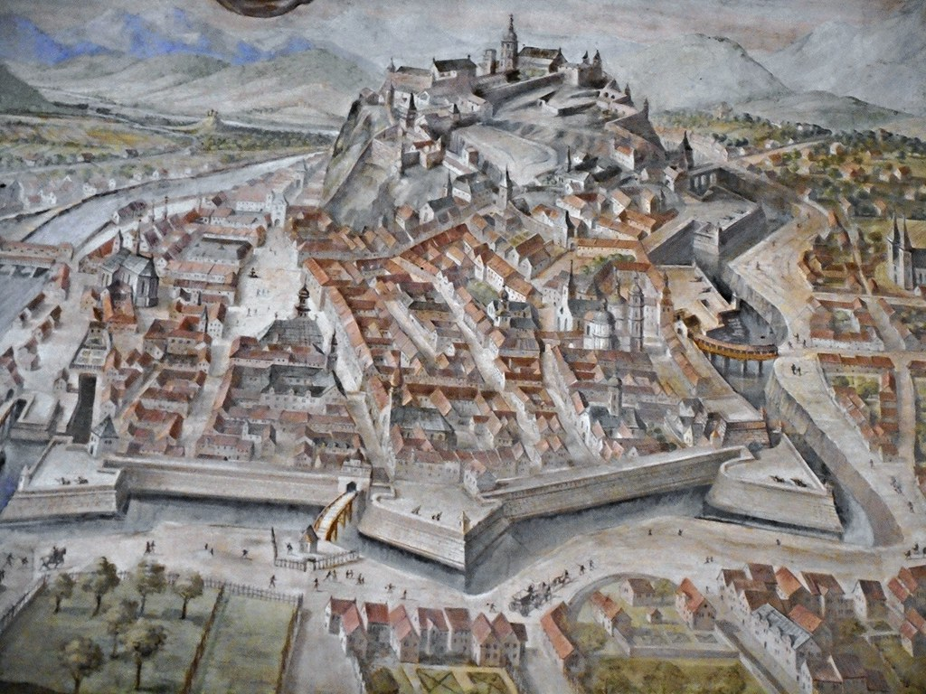 ... Grätz/Graz (Detail) - Painted townscape (year 1565) on plan by
