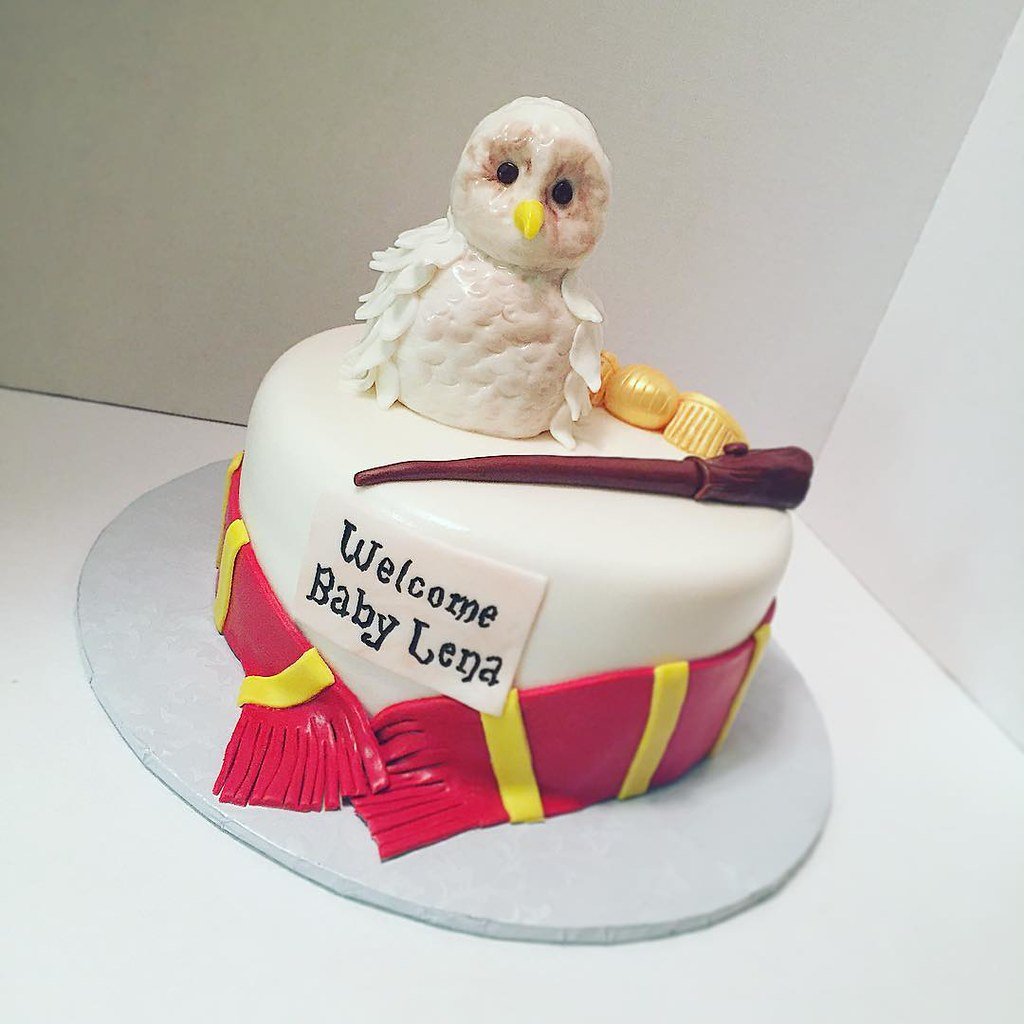 ... Harry Potter Baby Shower Cake #harrypotter #goldensnitch #wand #scarf  #owl #
