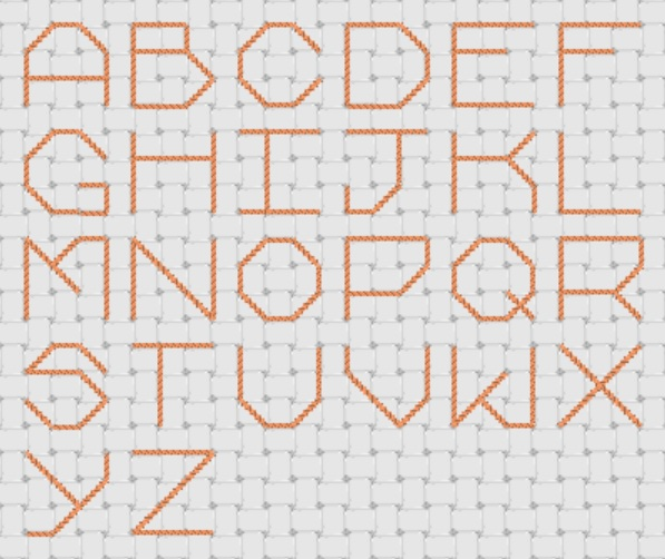 Preview of Cross Stitch Patterns: A to Z Alphabet Sampler (3 x 3 Half Stitch Large Letters)