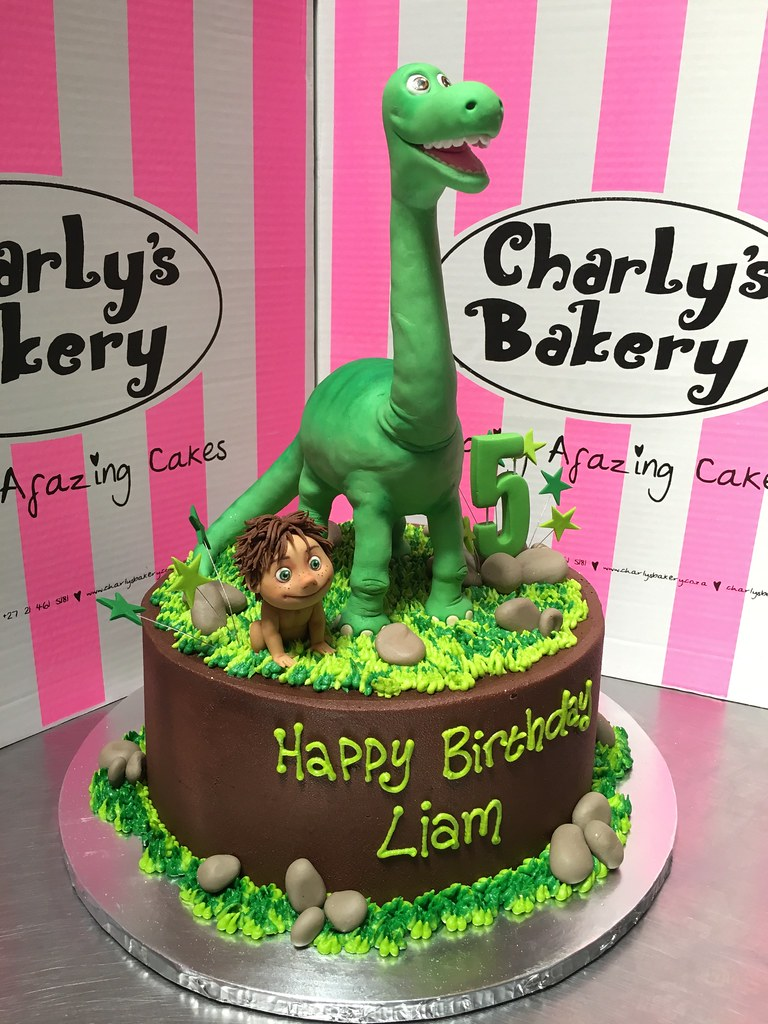 The Good Dinosaur themed 5th birthday cake with 3D figurin Flickr