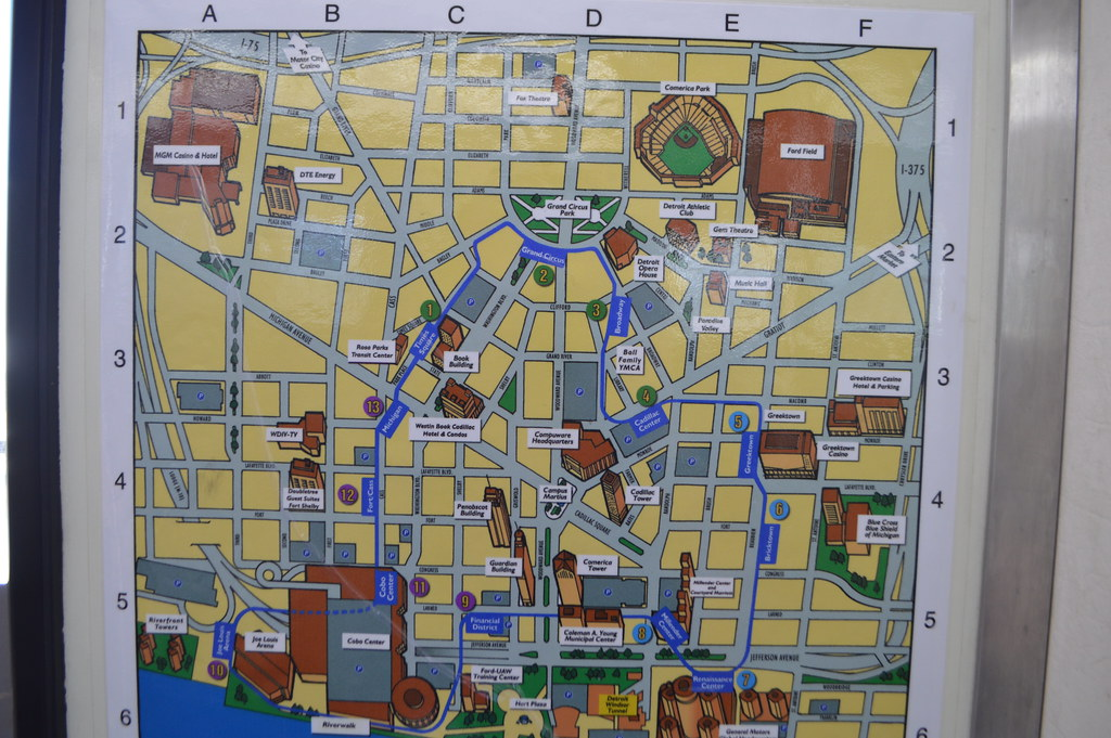 The People Mover map of Detroit, Michigan, USA | Detroit, Mi… | Flickr