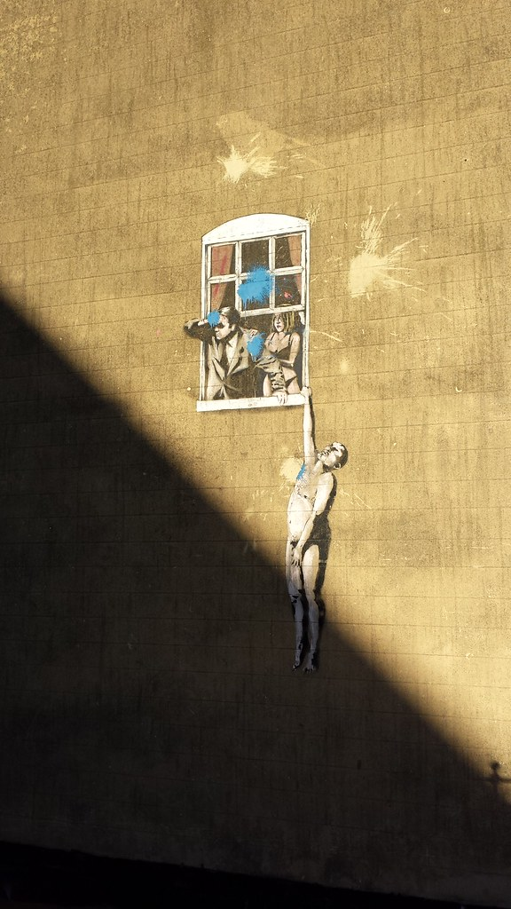 Naked Man Hanging from Window | by Banksy | Daniel Villar Onrubia ...