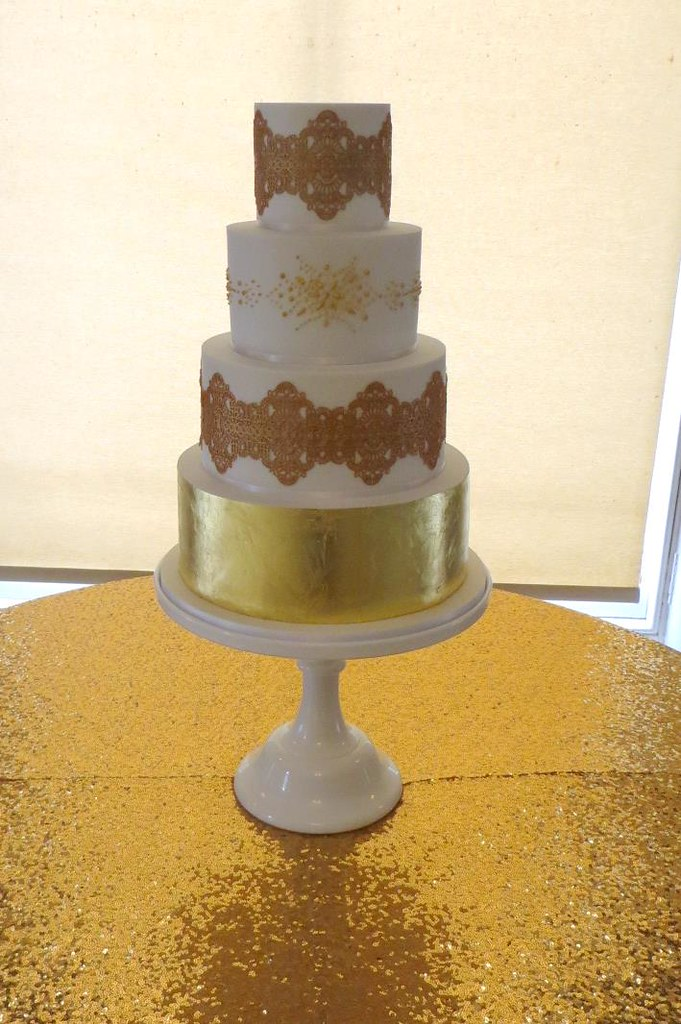 Gold Leaf Cake Lace Wedding Cake A Cherry On Top Scotland Flickr