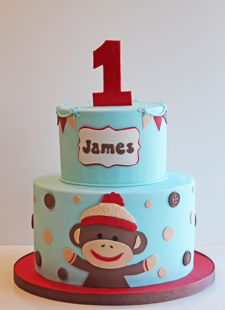 Sock Monkey First Birthday Cake 9 and 6 Beth Flickr