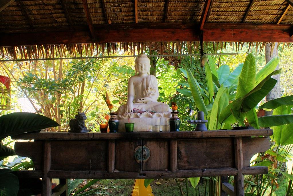 Statue de bouddha dans la végétation de Koh Lanta en Thaïlande.