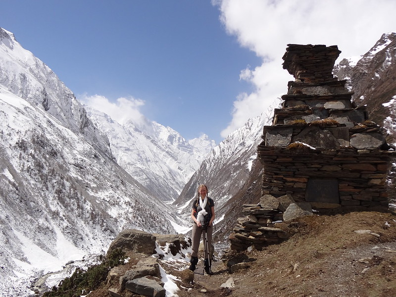 Me on the path back from Mu Gompa to Chhule - Tsum Valley, Nepal