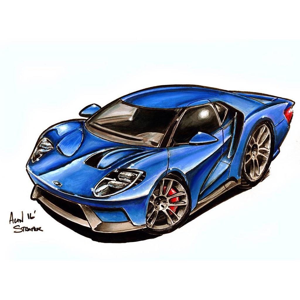 Fordgt Illustration Drawing Carart Cartoon Sportscar Ford Gt
