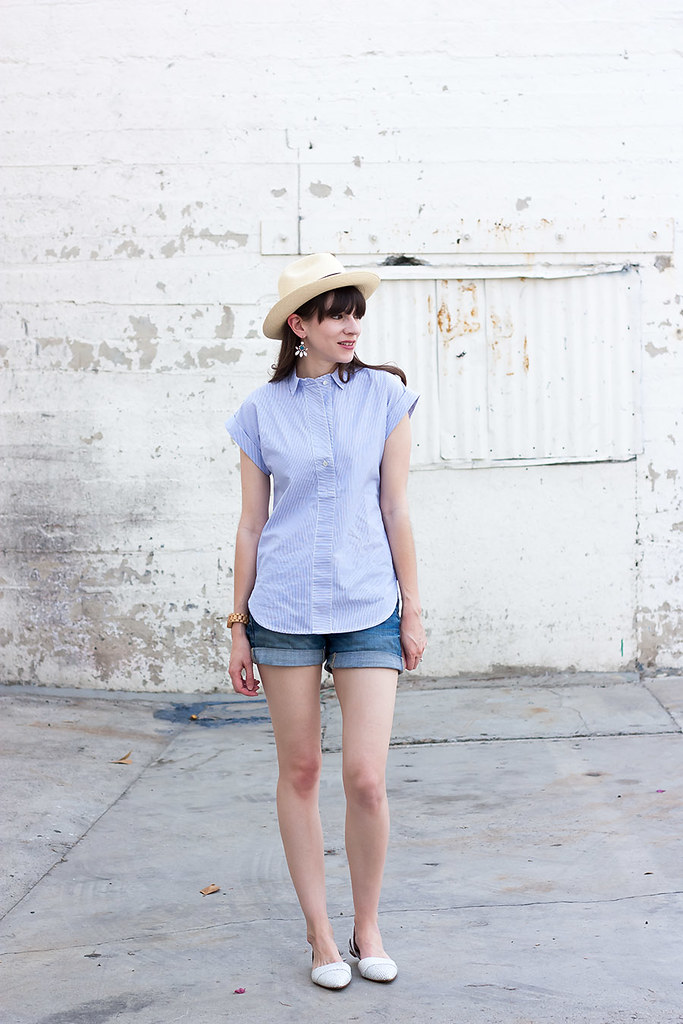 J.Crew Striped Shirt, Denim Shorts