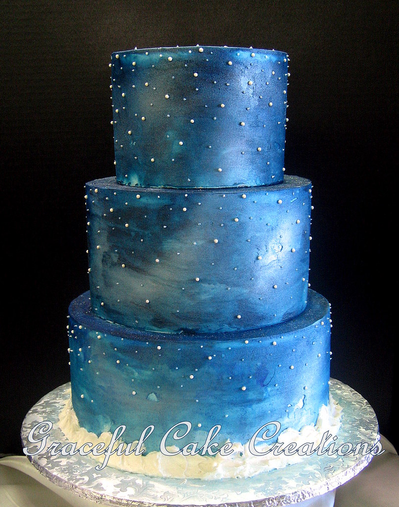 Elegant Starry Night Christmas Wedding Cake | Grace Tari | Flickr