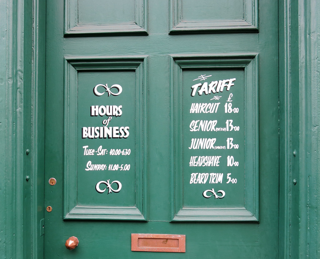 Green Door At The Barber Shop Great To See Some Real Signw Flickr