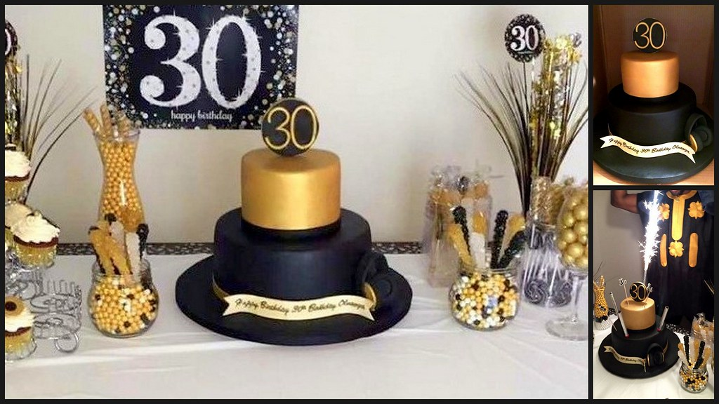 DJs Black Gold 30th Birthday Cake