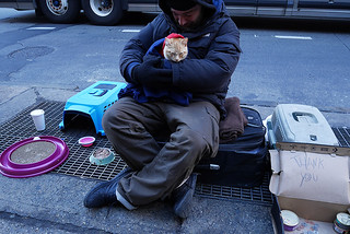 Man and cat, 6th Avenue | by kittylittered