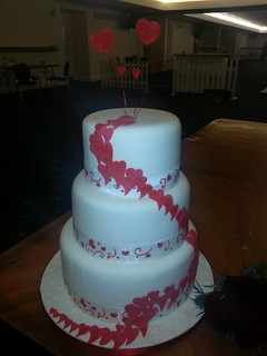 3 tiered red heart wedding cake | by platypus1974