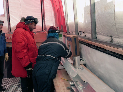 Eric Steig and Emma Kahle pack the last meter of ice (1750-1751 meters depth) | by U.S. Ice Drilling