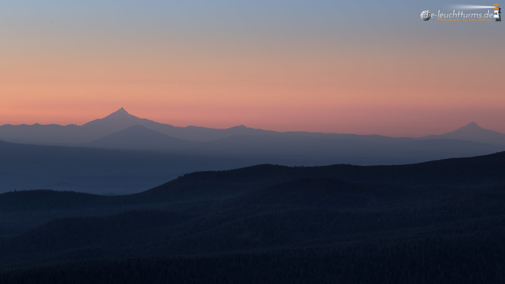 Cascade summits in twilight