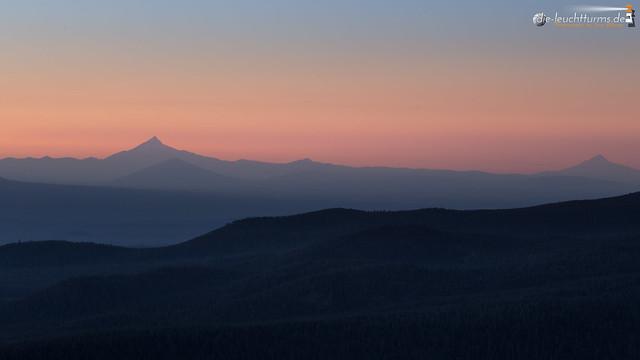 Cascade summits in twilight