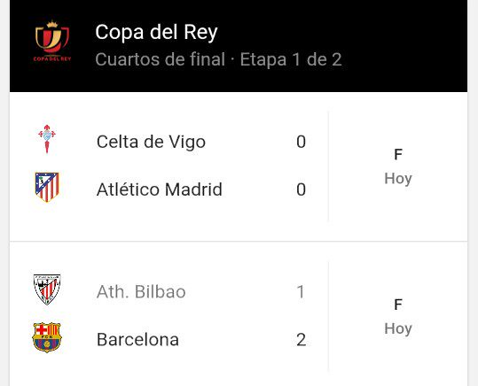 Copa del Rey - Cuartos de Final (Ida): Resultados | Copa del ...