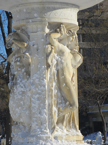 Female figure in snow, Dupont Circle fountain, Washington, D.C. | by Paul McClure DC