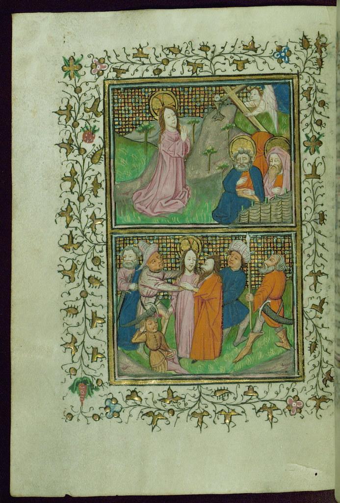 Book of Hours (Cistercian), Top: Agony in the Garden; Bott… | Flickr