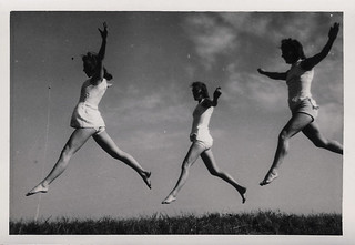 Group of young women dancing in the grass 1 | by oakenroad