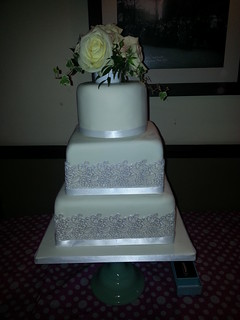 Three tiered wedding cake with cake lace. | by platypus1974