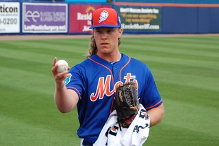 Noah Syndergaard warming up | by Julie Rubes