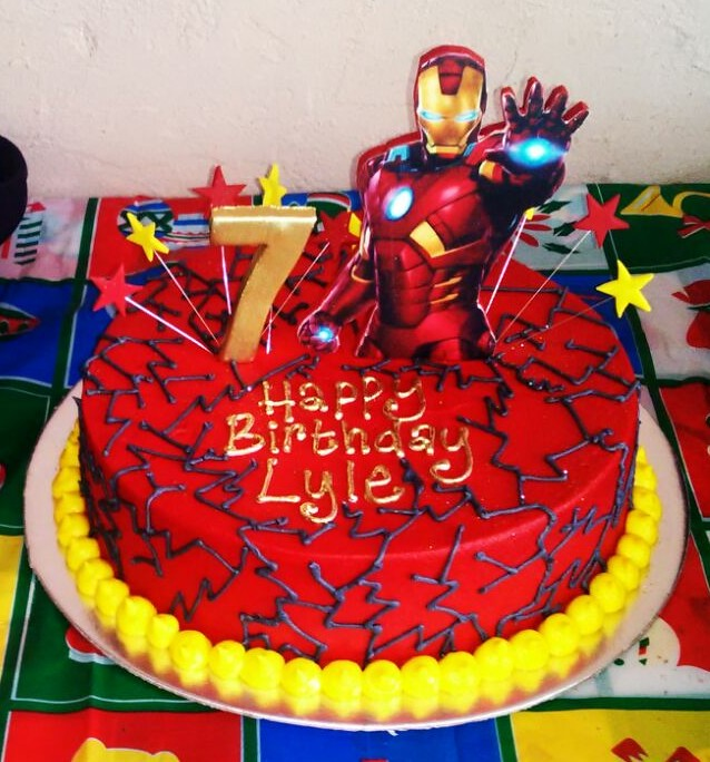 Iron Man Themed 7th Birthday Cake In Red Butter Icing With Flickr