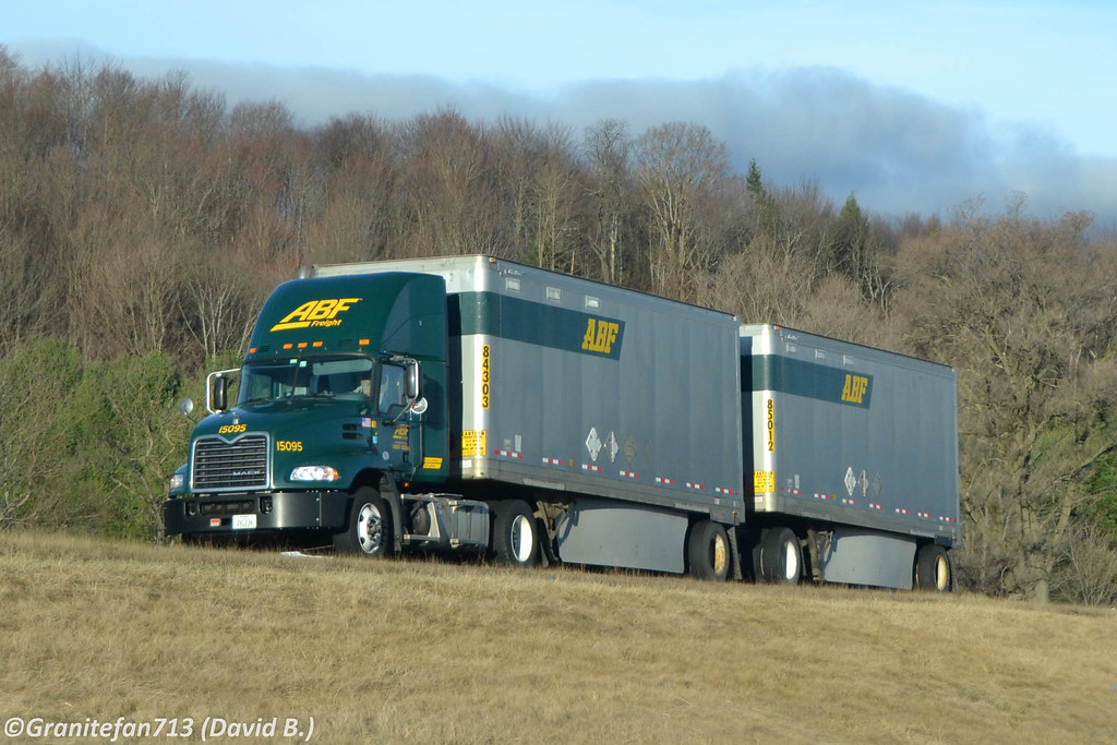 ... ABF Freight Mack Pinnacle with Doubles | by Trucks, Buses, & Trains by granitefan713