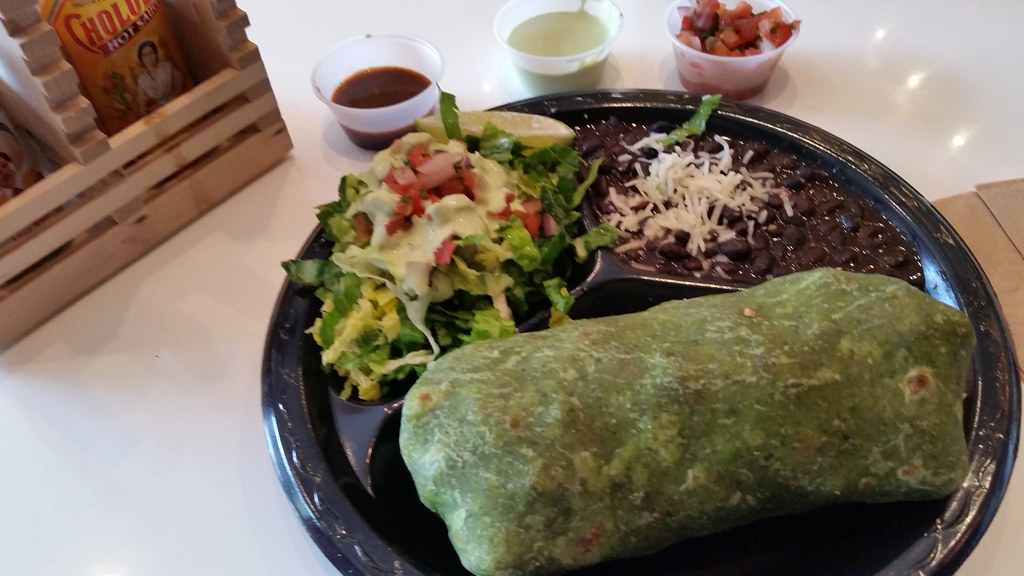 Chicken Burrito in Spinach Tortilla