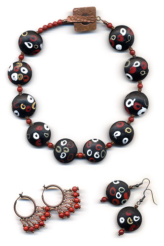 'Japanese Moderne' Necklace and Earrings