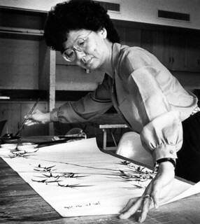 Shiow-Chung Liang working on a pen and ink painting, 1985 | by The Urbana Free Library Digital Collections