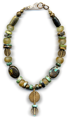 turquoise with recycled glass beads and spiral brass necklace