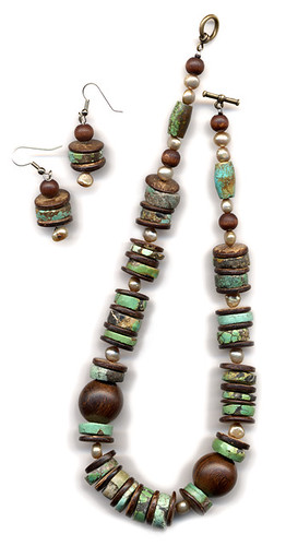 turquoise, pearl, wood and coconut necklace and earrings