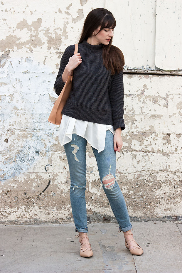 Loft Sweater, Ripped Jeans, Lace Up Flats