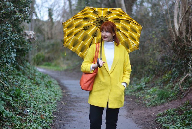 Yellow duster coat with black, orange and white Adidas Stan Smiths | Not Dressed As Lamb