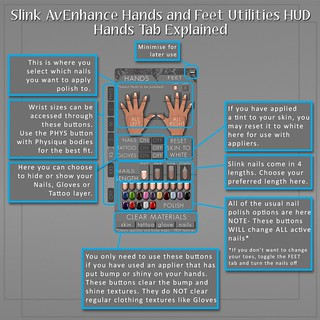 Slink Hands and Feet Utils HUD Hands Tab Guide | by Siddean Munro