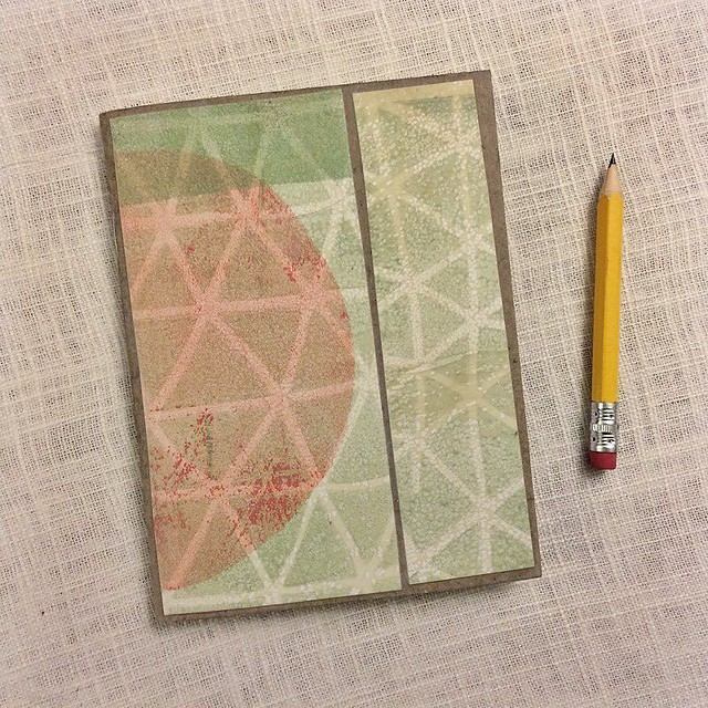 What a weekend! As soon as I post this my head is hitting the pillow. Day 6, #robayre100days #the100dayproject I made this little #jotter with a collage of a monotype print. It's quarter sized and has a mix of blank and ruled pages inside, perfect for art