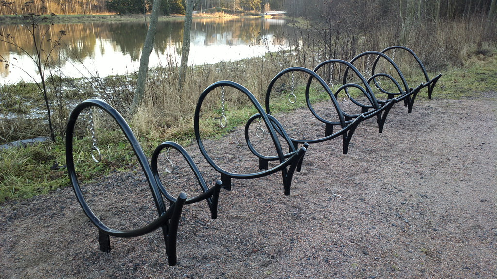 ... Fish Shaped Bike Racks By The River And Swimming Beach | By Hugovk