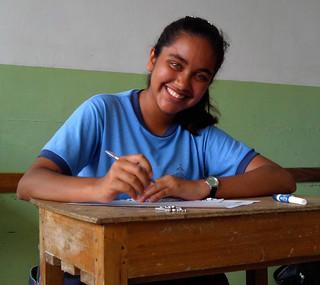 Valeria como estudiante en el colegio de Playa Prieta
